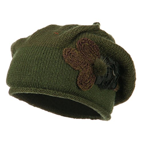 Ladies Flower Feather Beret - Olive OSFM