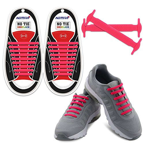 Homar No Tie Shoelaces in 13 Colors for Kids and Adult - Best in Sports Fan Shoelaces - Elastic Shoe Laces Turn Your Shoes into A Slip-on Perfect for Sneaker Boots Oxford and Casual Shoes - Pink