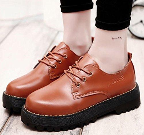 Idifu Kvinna Mode Snörning Låga Chunky Häl Oxfords Plattform Slutna Rund Tå Sneakers Brun