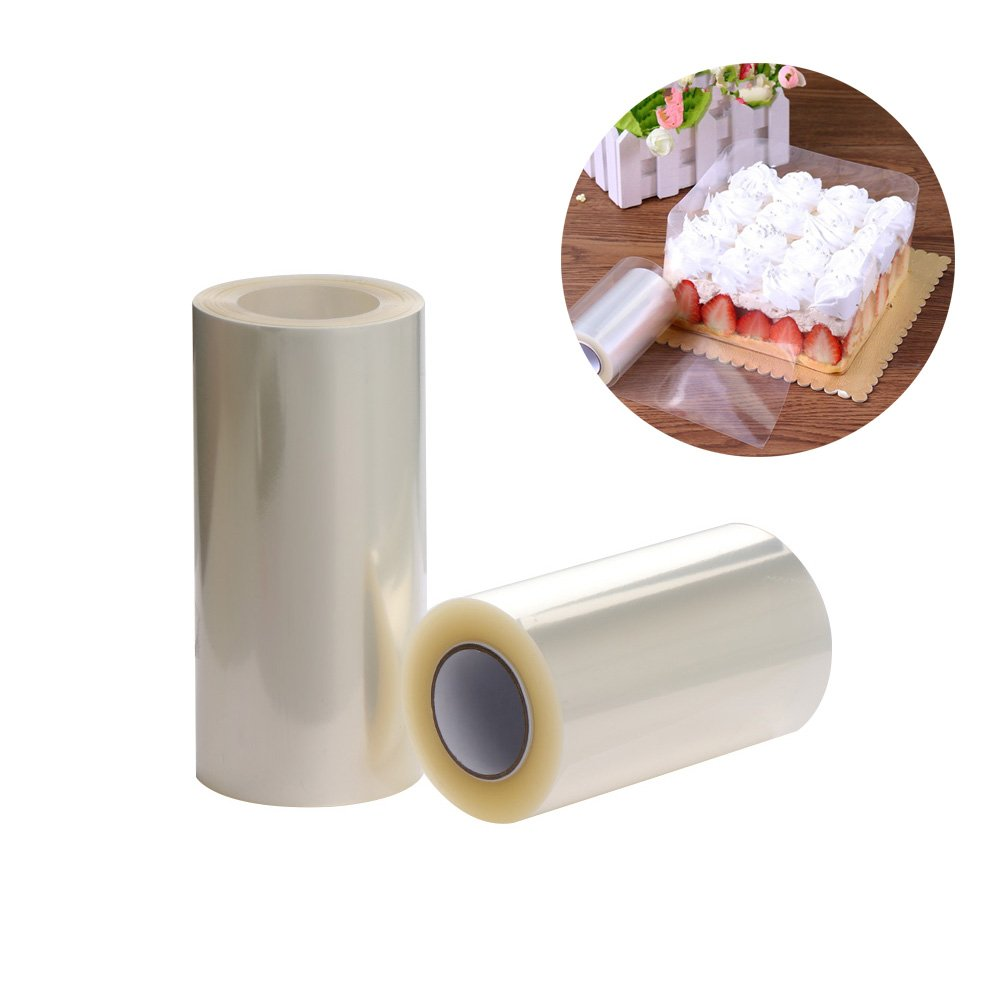 2 Rolls Transparent Clear Cake Collar, Mousse Chocolate and Cake Surrounding Edge Wrapping Tape for Baking& DIY Decorating Acetate Sheet Tools, 8cmx10m/10cmx10m
