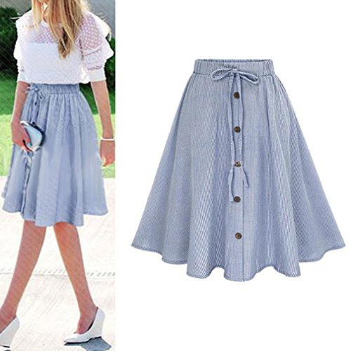 4506127543 80% OFF Juleya Mujer Falda a Rayas - Elegante Cintura Elástica Plisada Falda  con Cordón