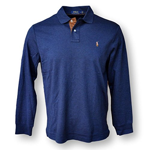 Polo Ralph Lauren Men Long Sleeve Pima Soft Touch Polo Shirt, Midnight Blue, XL (Mesh Polo Pima Shirt)