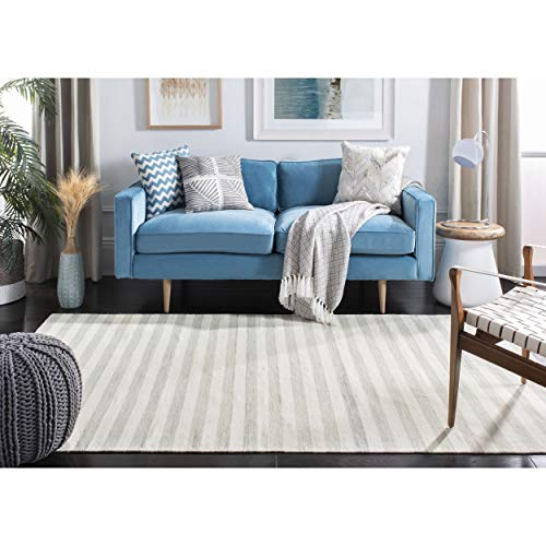 Safavieh Dhurries Collection DHU575G Hand Woven Light Blue and Ivory Premium Wool Area Rug (4′ x 6′) For Sale
