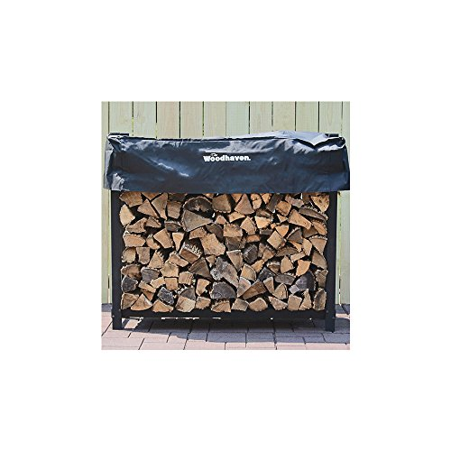 QBC Bundled Woodhaven Firewood Rack - 48-WRC - 4ft Firewood Rack - Black - (4ft x 4ft x 14in) with Standard Cover - Plus Free QBC Firewood Rack eGuide by Quality Brand Company