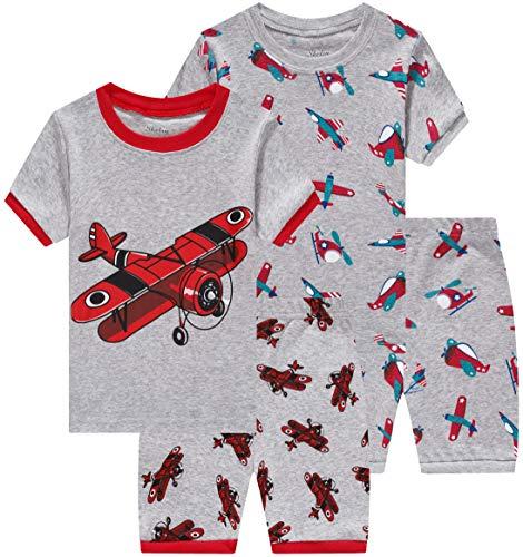 shelry Pajamas for Boys Summer Children Airplane Clothes Kids Sleepwear 4 Pieces Short Set 8t