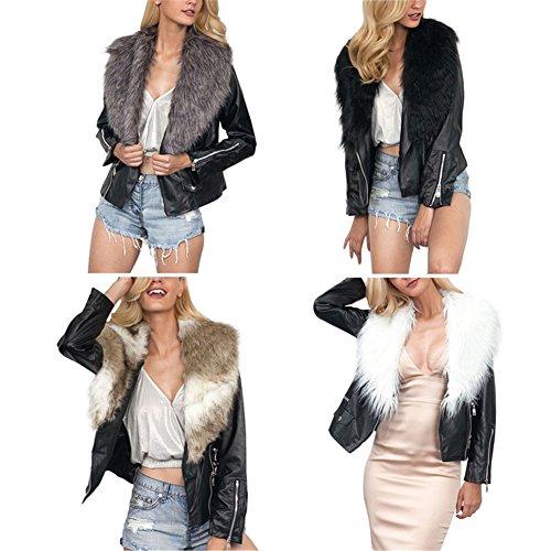 iBaste 2017 nouvelle femme chaude veste de cuir moderne en hiver avec  fourrure en fourrure Veste capuche Outwear: Amazon.fr: Vêtements et  accessoires