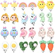 PinkSheep Clip On Earrings for Girls Kids 12 Pairs Toddler Earrings Kawaii Ladybug Unicorn Rainbow Princess Ea