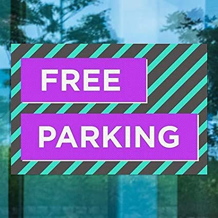 Modern Block Perforated Window Decal 30x20 5-Pack CGSignLab Free Parking