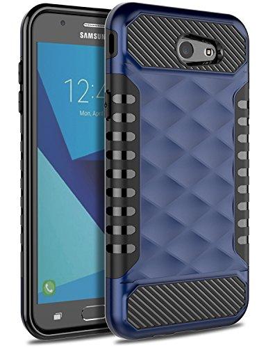 Samsung J7 Prime Case 2017, Galaxy J7 V Case, J7 Perx Case OTOONE [Geometric Series] Slim Dual Layer Shock Proof Flexible Silicone Protective Case Cover for Samsung Galaxy J7 Sky Pro (Navy Blue)