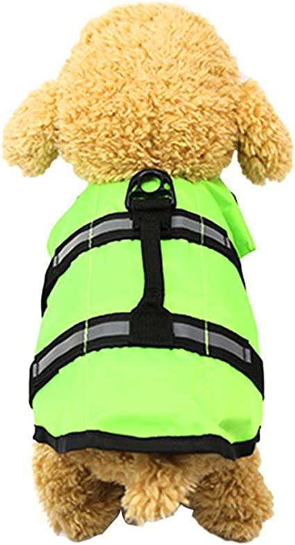 KeKeandYaoYao Dog Life Jacket Pet Swimming Safe Vest Adjustable Reflective Swimsuit Clothes Green M