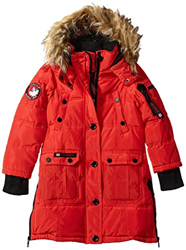 CANADA WEATHER GEAR Girls' Little Outerwear Jacket (More Styles Available), Hooded Stadium-CW055-Red, 5/6
