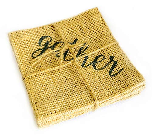 Gather 4 Pack of Natural Burlap Reversible Coasters   Made from 100% Eco-friendly Jute (Leather Home Plate Coasters)