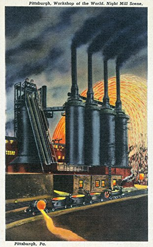 Pittsburgh, Pennsylvania - Steel Mill Scene at Night (12x18 Collectible Art Print, Wall Decor Travel - Mills Pittsburgh