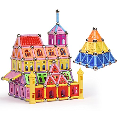 WITKA Magnetic Building Toys for Boys and Girls Ages 5 to 12, Open-Ended Build 2D/3D Shapes Like Houses, Geometrical Figures, Pyramids and Animals (260 Pieces)