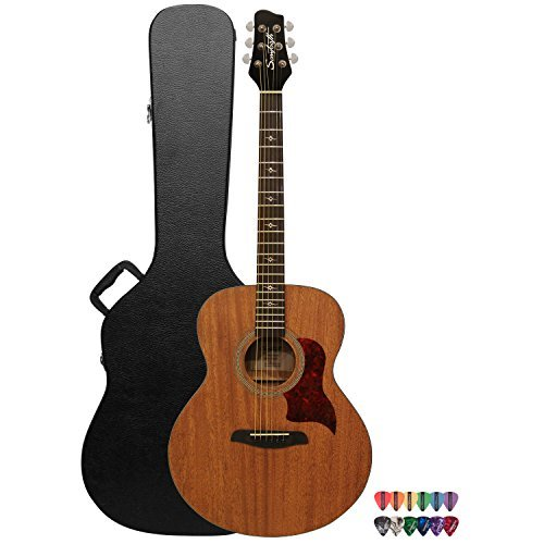 Sawtooth Mahogany Series Solid Mahogany Top Acoustic-Electric Jumbo Guitar with Hard Case and Pick Sampler