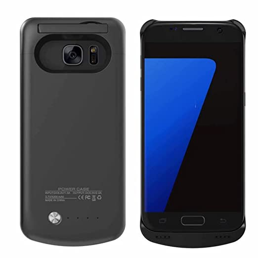Galaxy S7 Edge Cargador Recargable caso, Rasse® Rechargerable funda batería externa de 5200 mAh copia de seguridad Juice Pack power – Funda con ...