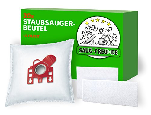 20 Staubsaugerbeutel + 2 Filter MIELE Classic C1, Complete C2 Tango, Complete C3, EcoLine, PowerLine, Cat & Dog, Silence, Comfort, G-H-N, ..., von SAUG-FREUnDE Made in Germany