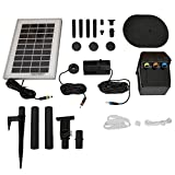 Sunnydaze Solar Pump and Solar Panel Kit with Battery Pack & LED Light, 79 GPH, 47-Inch Lift
