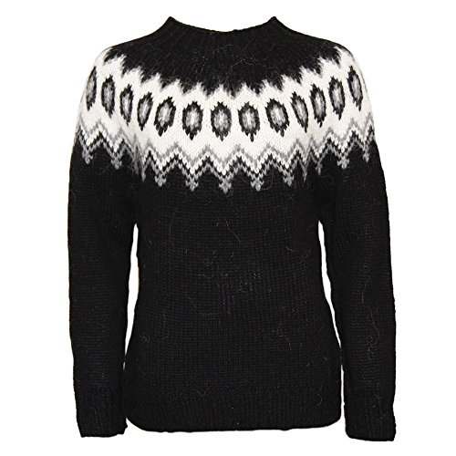 ICEWEAR Hulda 100% Icelandic Wool Hand Knitted Jumper with Crew Neck Black