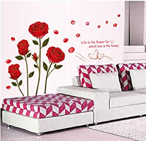 Rose can remove wall stickers living room TV background flower wedding room decoration