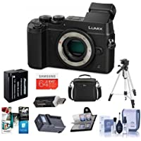 Panasonic Lumix DMC-GX8 Mirrorless Digital Camera Body, Black - Bundle with Camera Bag, 64GB SDXC Card, Spare Battery, Tripod, Cleaning Kit, Memory Wallet, Compact AC/DC Charger, Software Bundle, More