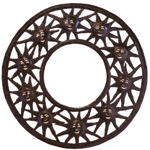 Le Primitif Galleries Haitian Recycled Steel Oil Drum Outdoor Decor, 33 by 33-Inch, Sun Mirror