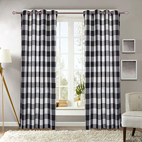Plaid Window Curtain - Decotex Courtyard Checkered Grommet Window Curtain Treatment Panel Drapes or Valance (2 Panels 53