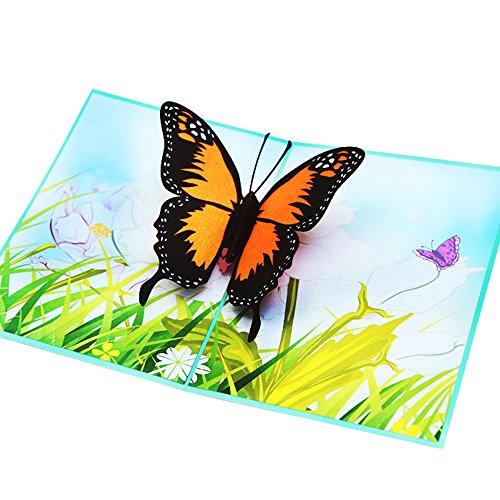 Parasky Butterfly Pop Up Card, Birthday Card, 3D Greeting Cards, School Graduation Card, Teacher Thank You Card, Anniversary, Engagement, Handmade Greeting -