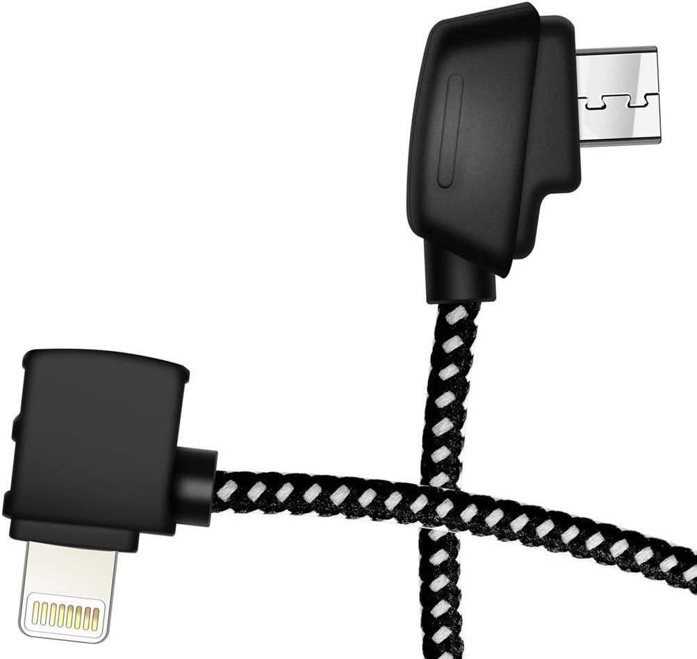 Hanatora Micro AB to iOS 8.14 Inch Remote Controller Cable for DJI Mavic Mini, Mavic 2 Pro Zoom/Mavic Air/Mavic Pro Platinum,Tablet OTG Nylon Braided Data Cord Accessories(iOS Connector)