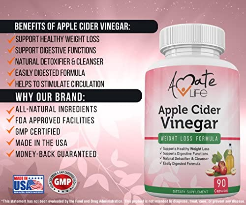 Apple Cider Vinegar Capsules Appetite Suppressant for Women and Men - Improves Digestive Functions - Detox and Cleanse 90 Capsules- Non-GMO by Amate Life 3