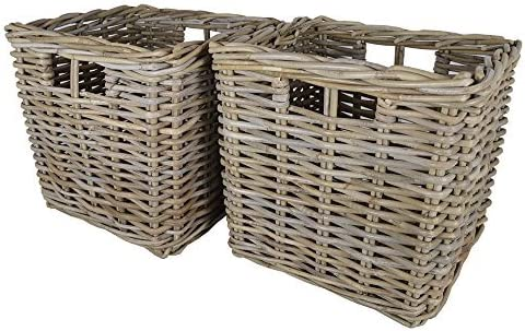Wovenhill Set of 2 Square Kubu Storage Shelf Baskets W32 x D32 x H31cm