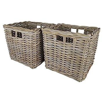Beau Set Of 2 Square Kubu Storage Baskets 2 X W31 X D31 X H31cm/Gift