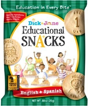 Dick & Jane Educational Snacks - English & Spanish - 120 Bags (Bilingual Edition Features 10 Numbers & 50 Vocab Words)