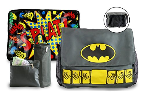 Batman Diaper Bag and Changing Pad with Detachable Bottle Pouch and Burp Cloth - Multiple Pockets, Shoulder Strap, Flap Over Closure - Waterproof, Nylon, Gray - by DC Comics