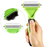 Dog Dematting Comb, Comsun Dog Deshedding Brush, Cat Grooming Rake, Double Sided De-Matting Combs for Removing Undercoat Knots, Mats and Tangled Hair