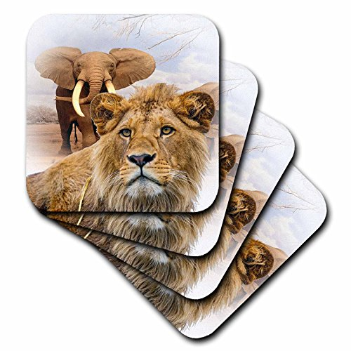 3dRose cst_167046_3 Jungle Wild Animals-Ceramic Tile Coasters, Set of 4 by 3dRose