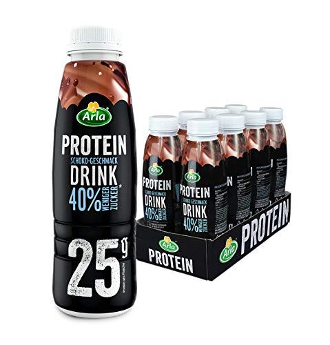 Arla Protein Drink mit Schoko-Geschmack, 8 x 479 ml – Schokodrink fettarm mit 40% weniger Zucker und 25 g Protein