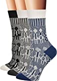 Flora&Fred Women's Vintage Cotton Crew Socks, Size 9-11 / Shoe Size 5-9, Couple, 3 Pairs Pack
