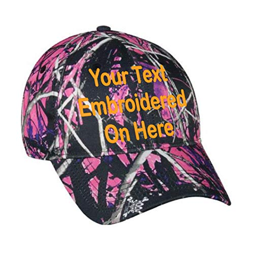 Custom Hat, Embroidered. Your Own Text. Adjustable Back. Curved Bill (Moon Shine Muddy Girl ()