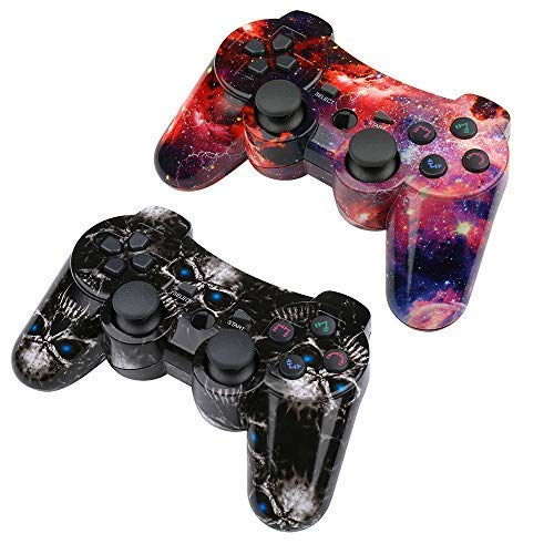 CHENGDAO PS3 Controller Wireless 2 Pack Double Shock Gamepad for Playstation 3 Remote,Six-axis Wireless PS3 Controller with Charging Cable