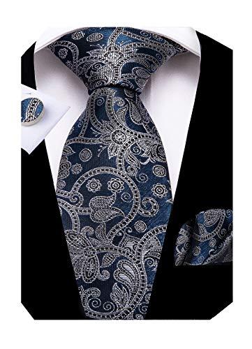 DiBanGu Navy Blue Paisley Tie and Tie Clip Set for Men Silk Necktie Handkerchief Cufflink Gift Box