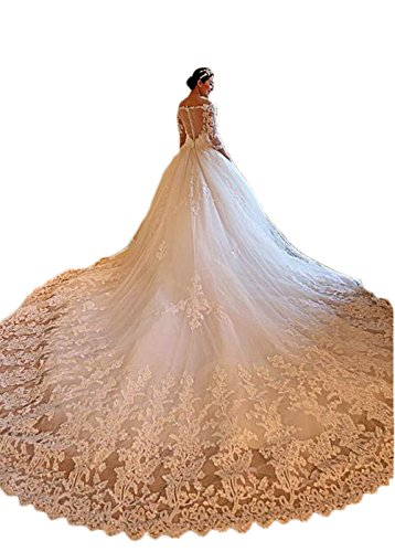 Ri Yun Gorgeous Off The Shoulder Ball Gown Wedding Dresses Long Sleeve Lace Beaded Tulle Wedding Dresses For Bride 2018 With Train