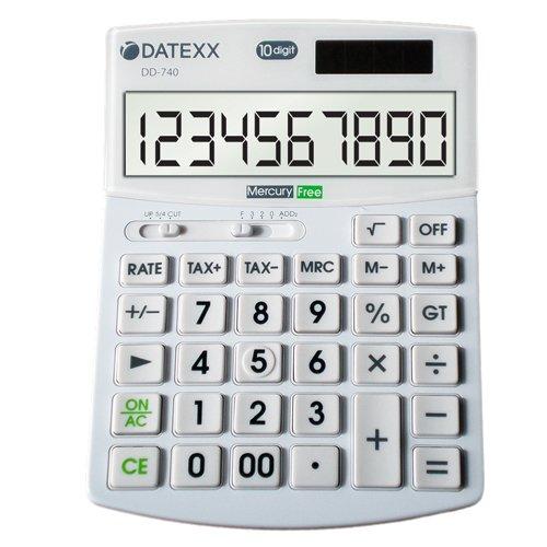 Datexx DD-740 Hybrid Power 10 Digit Desktop Calculator (Calculator For Seniors)
