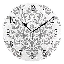luckY-zm Large Arabic Digital Quartz Movement Clock-Damask Flower Elegant Round Wall Clock Non Ticking Silent Clock Art for Living Room Kitchen Bedroom-size9in