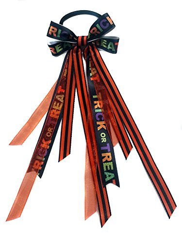 - Trick or Treat! Halloween Hair Bow Ribbon Streamers Ponytail Holder (Scrunchie)