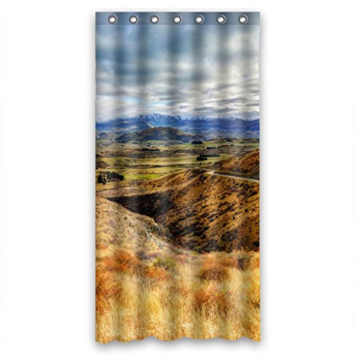 Unique Orange Yellow Valley Hills And Mountain Road Fabric Bathroom Shower Curtain 36(W)X72(H)