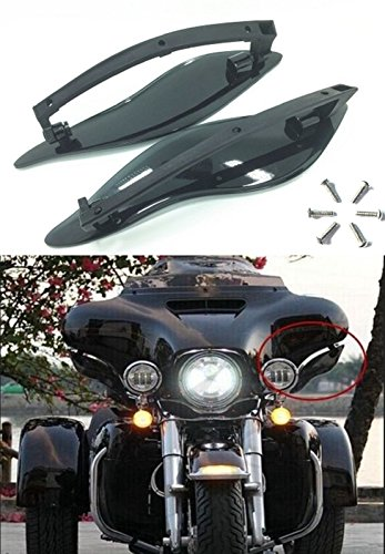 Black ABS Adjustable Side Wings Air Deflectors Fairing Side Cover Shield For Harley Davidson Touring Glide FL 2014 2015 2016 2017