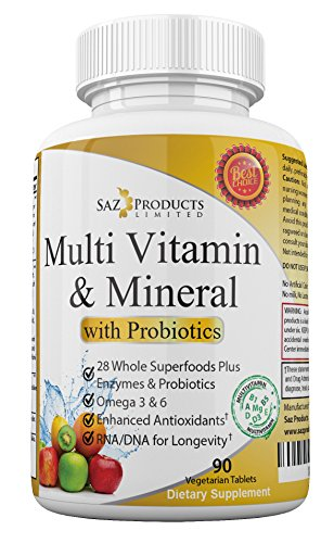 Whole Food MultiVitamin & Mineral Plus Probiotic Enzymes – Increased Energy, Combats Fatigue, Eliminates Brainfog & Easy on Digestion for Men & Women – Non-GMO – 90 Tablets (Super Chelated Iron)