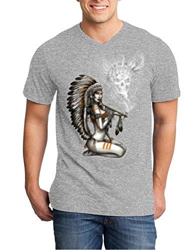 Shop4Ever Chief Woman Smoking Pipe Smoke Skull Men's V-Neck T-shirt Native American Shirts Large Heather Grey (Sexy Indian Man)