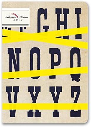 Alibabette Editionsパリ - Typo Top - ミニジャーナル - 6.75 x 4.75インチ 裏地なしアイボリー紙 w/エクリュリネンステッチ 64ページ、マットカバー